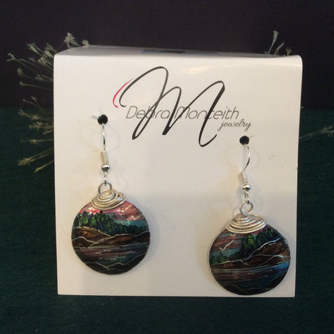 Textured Earrings Mountains and Water with Silver Wire Wrap, Debra Monteith, Morristown, NY
