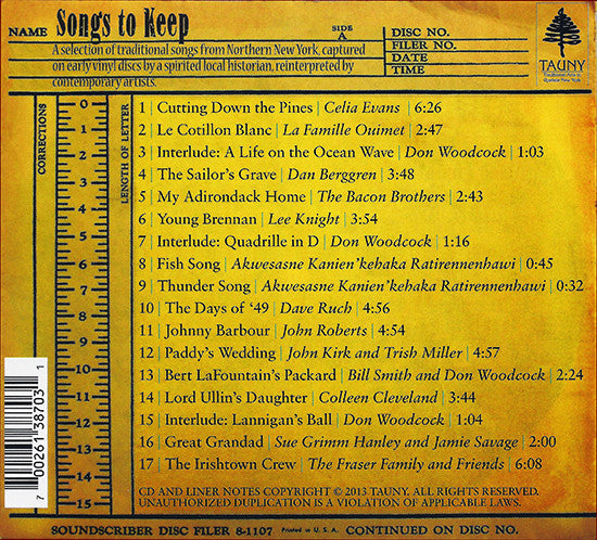 CD Songs to Keep: Adirondack North Country Recordings Reimagined