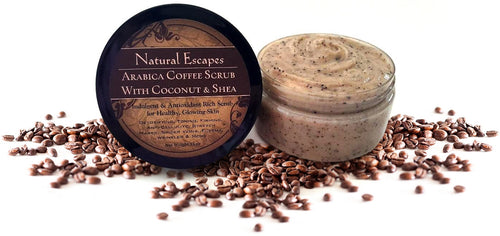 Arabica Coffee Scrub | Organic Sugar Scrub with Shea Butter & Coconut Oil for Cellulite, Varicose Veins, Stretch Marks & More
