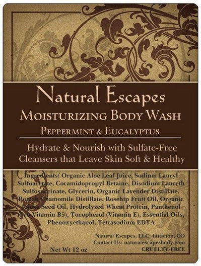 Peppermint & Eucalyptus Moisturizing Body Wash | All Natural Body Wash for Soft, Smooth Skin
