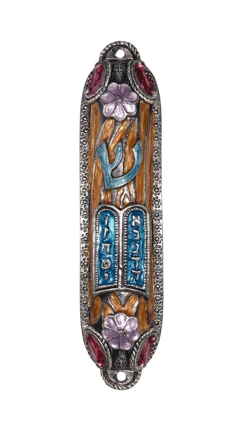 10 Commandments Pewter Mezuzah