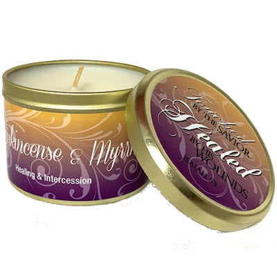 Frankincense & Myrrh scripture candle tin
