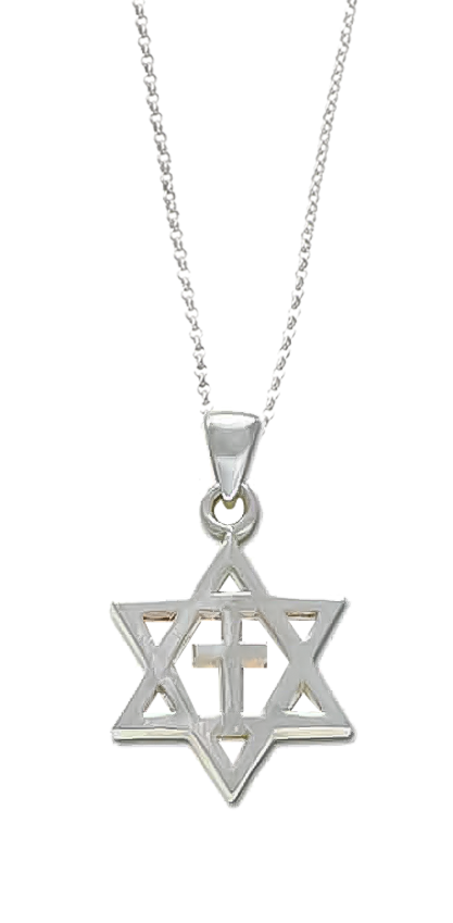 Star of David with Cross (sterling silver)