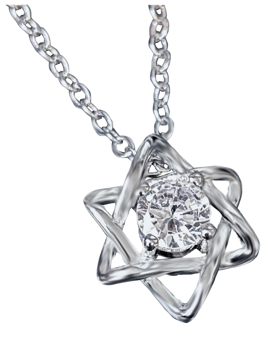 Star of David with zircon gemstone