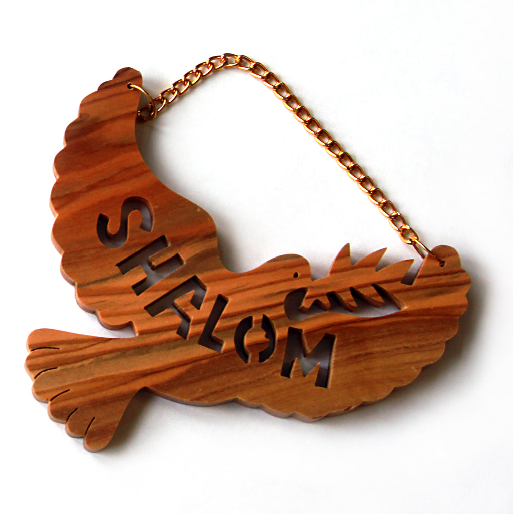 Olivewood Shalom Dove ornament