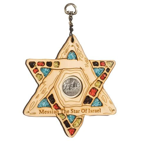 Wooden Star of David with Blessing