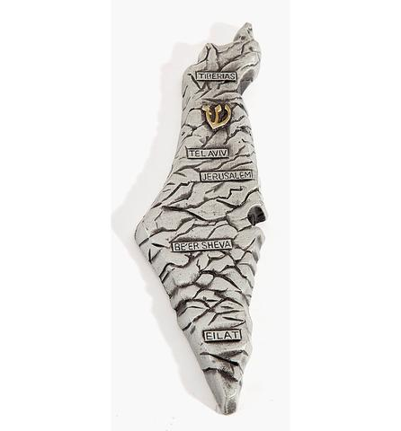 Map of Israel Pewter Mezuzah
