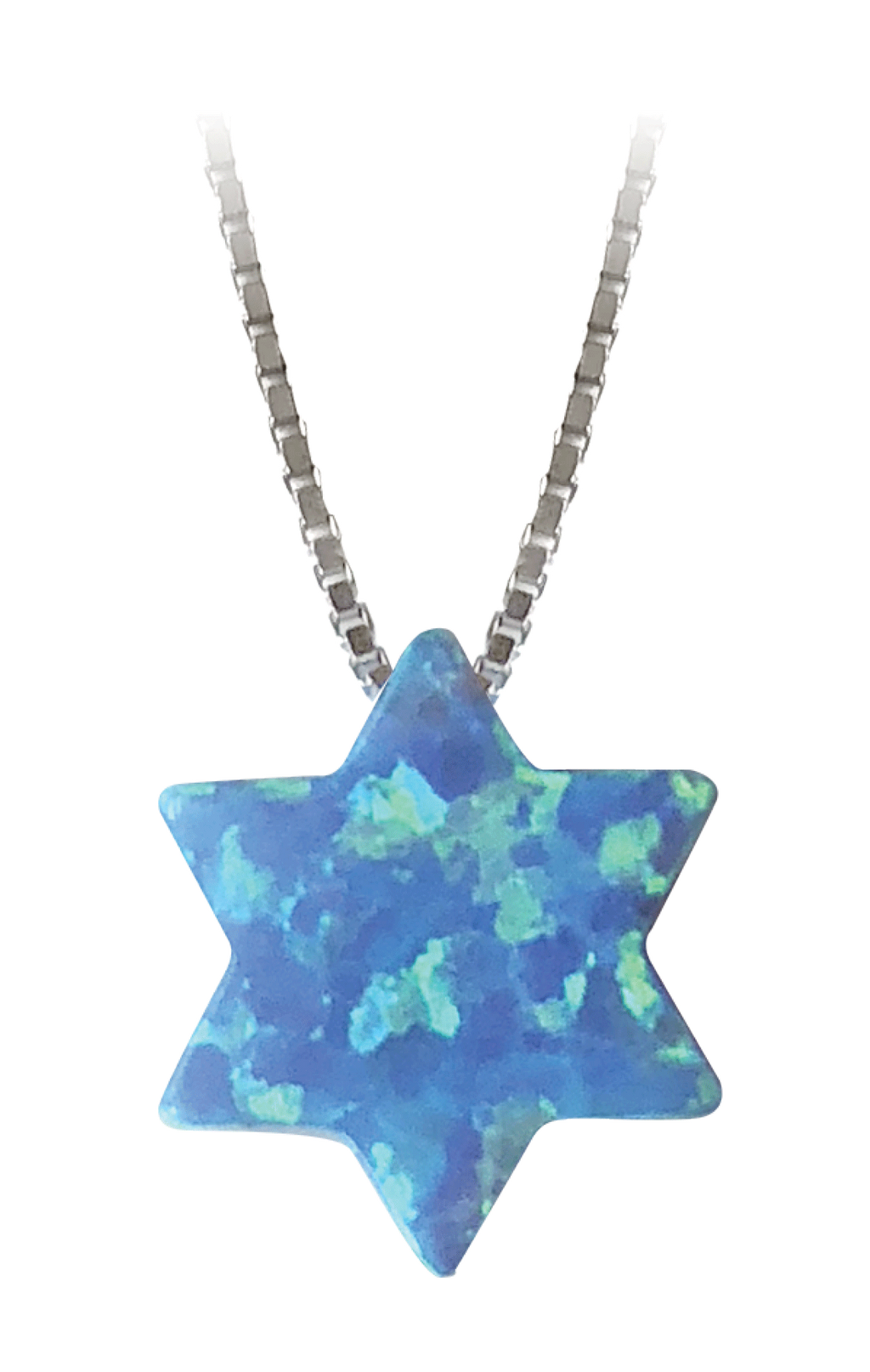 Blue Opal Star of David Necklace