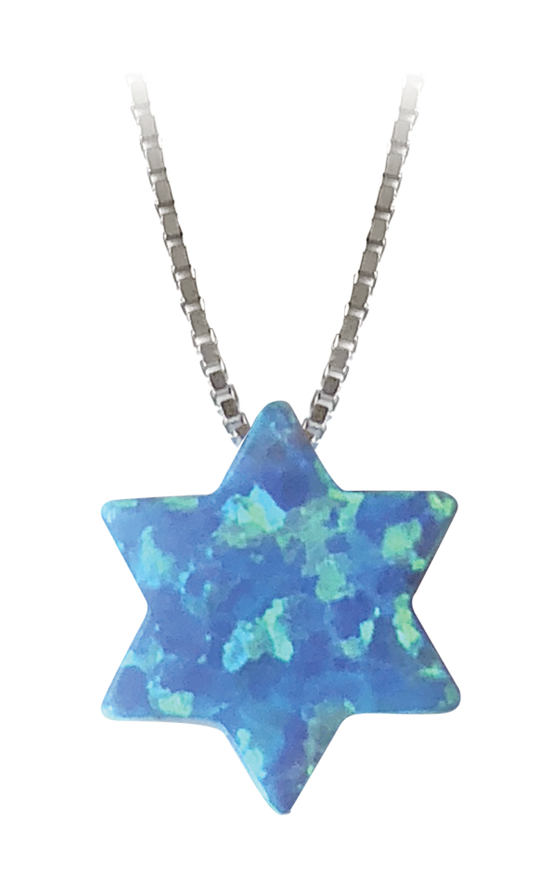 Blue Synthetic Opal Star of David Necklace