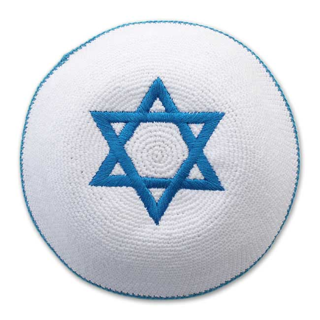 White & Blue Knit Kippah