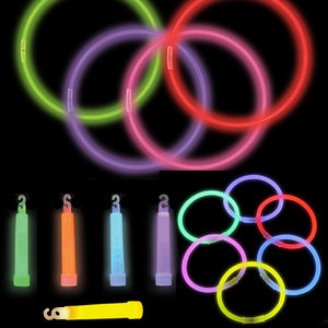 "200 Glow Stick Assortment (100 bracelets, 50 necklaces & 50 4"" sticks)"