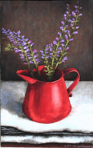 Red Cup with Purple Flowers