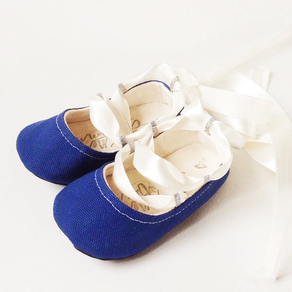 "Color Punch Ballet Flats in ""Royal"""