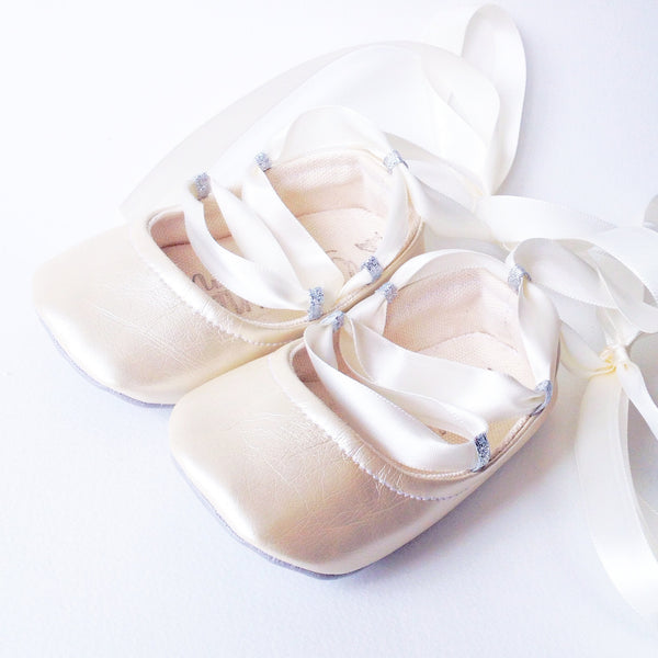 "Color Punch Ballet Flats in ""Pearl"""