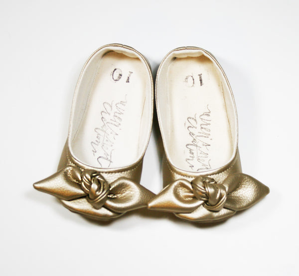 "Color Punch Bow Flats in ""Golden"""