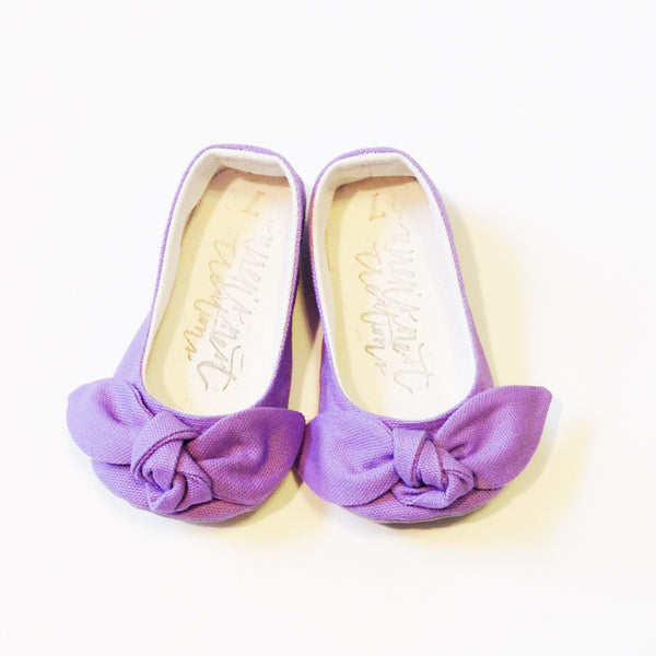 "Color Punch Bow Flats in ""Lilac"""