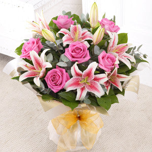 Pink Rose and Lily Hand Tied (500354)
