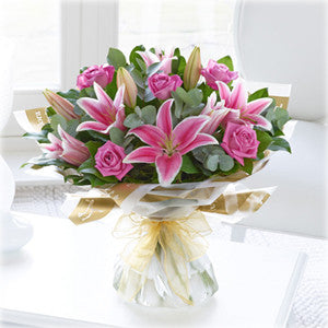 Pink Rose and Lily Hand Tied (500537)