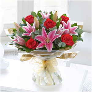 Red Rose and Pink Lily Hand Tied (500538)