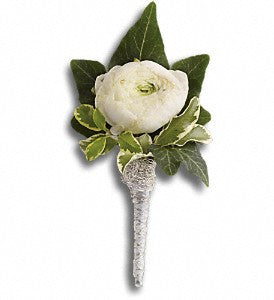 Blissful White Boutonniere (T202-9)