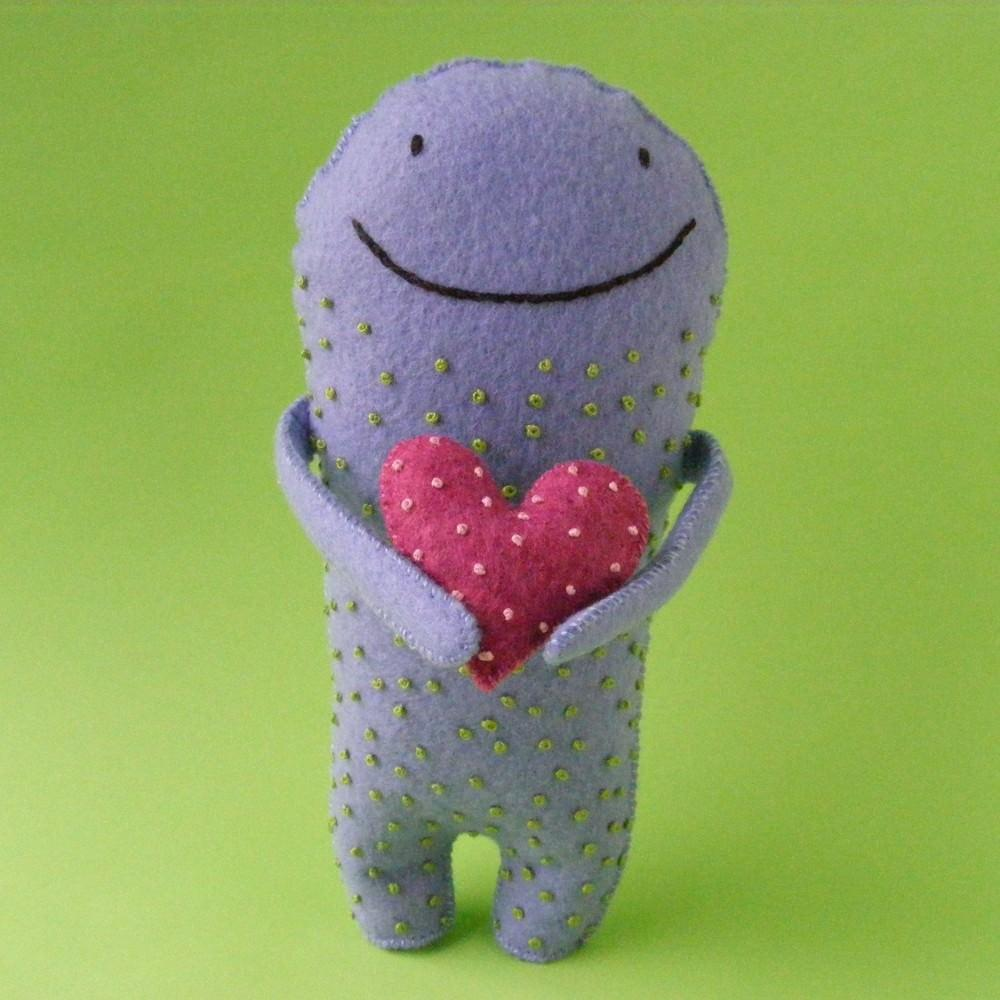 smiling felt monster stuffed animal
