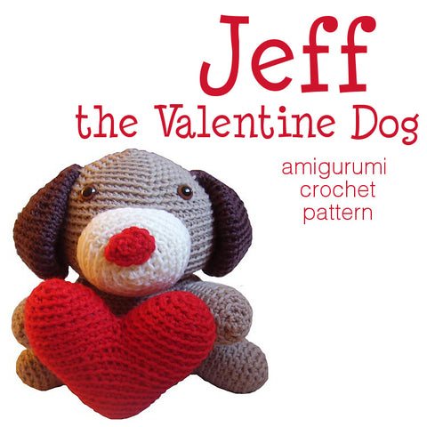 Jeff the Valentine Dog Crochet Amigurumi Pattern