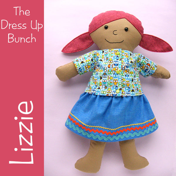Lizzie - Dress Up Bunch rag doll pattern
