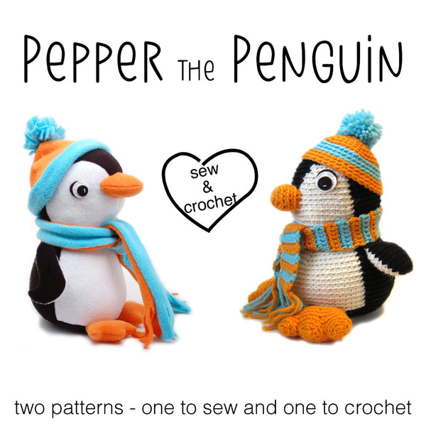 Pepper the Penguin Crochet Amigurumi Pattern and Sewn Stuffed Animal ...