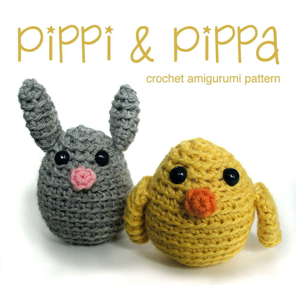 Pippi and Pippa Bunny and Chick Crochet Amigurumi Pattern