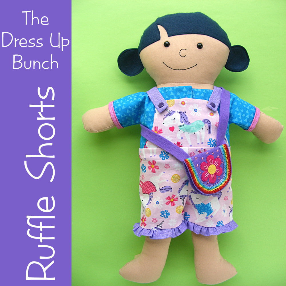 Dress Up Bunch Doll Ruffle Shorts and Rainbow Purse Pattern
