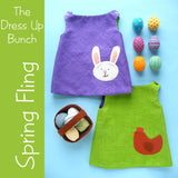 Spring Fling - Reversible Doll Dress Pattern with Eggs and Basket
