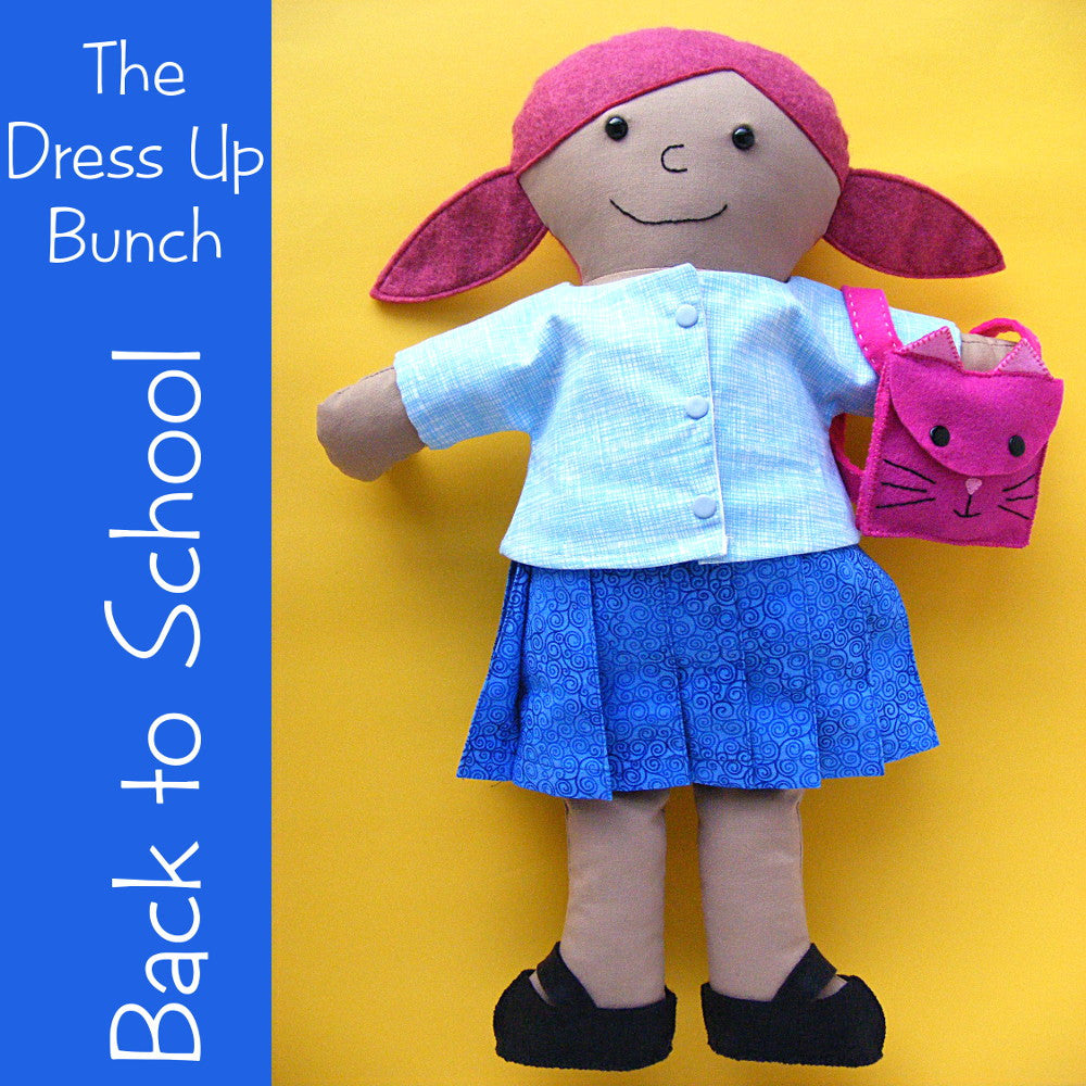 Back to School - skirt, shirt, shoes and backpack pattern