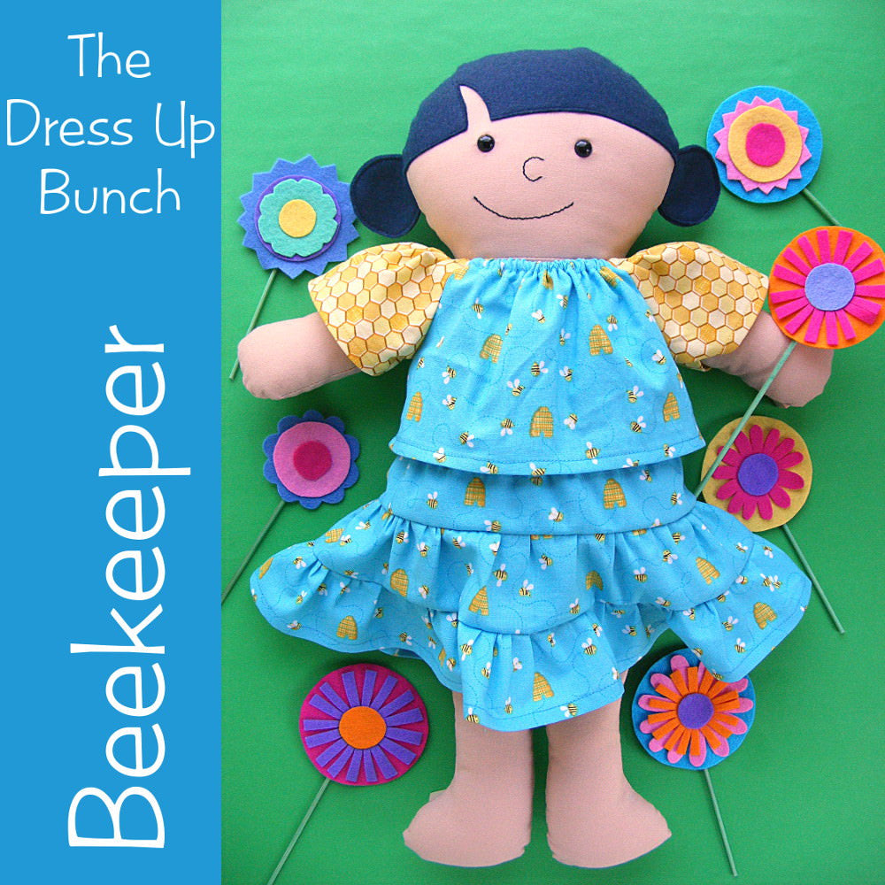 Dress Up Bunch Doll Beekeeper Dress and Flowers Pattern