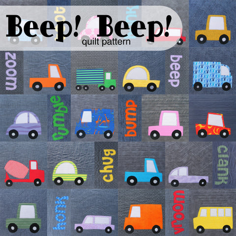 Beep Beep car and truck quilt pattern cover