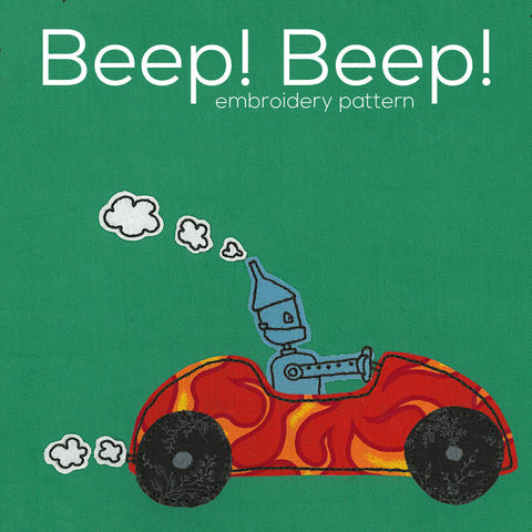 Beep! Beep! Robot embroidery pattern