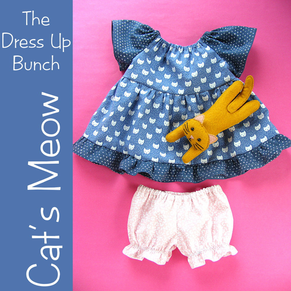 Cat's Meow - Dress Up Bunch Doll Dress, Panties and Cat Patterns