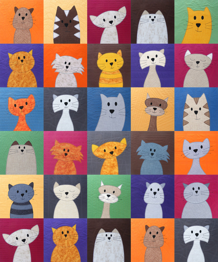 cats quilt pattern shiny happy world