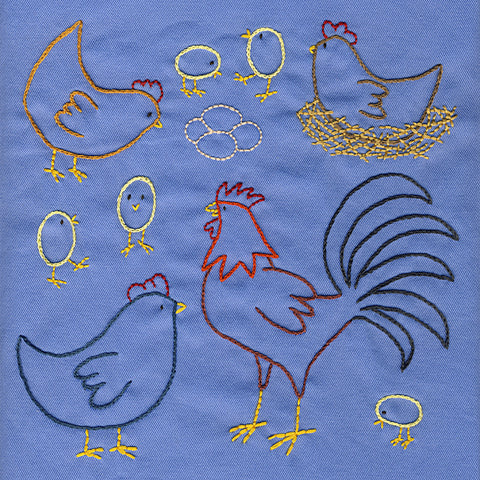 Chickens embroidery pattern