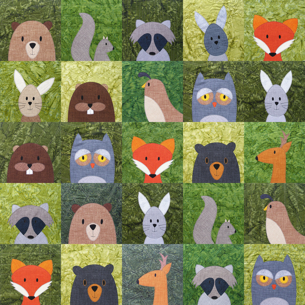 Image of a quilt of forest animals