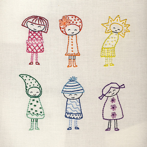 Rainbow Girls embroidery pattern
