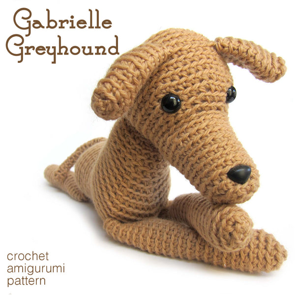 Gabrielle the Greyhound Crochet Amigurumi Pattern