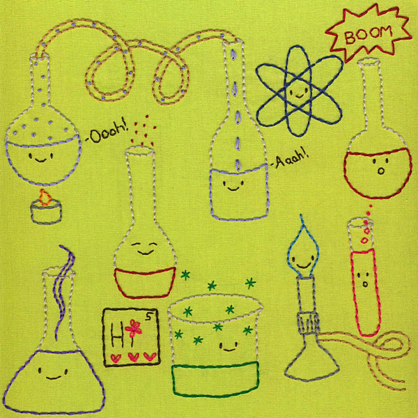 Happy Chemistry embroidery pattern