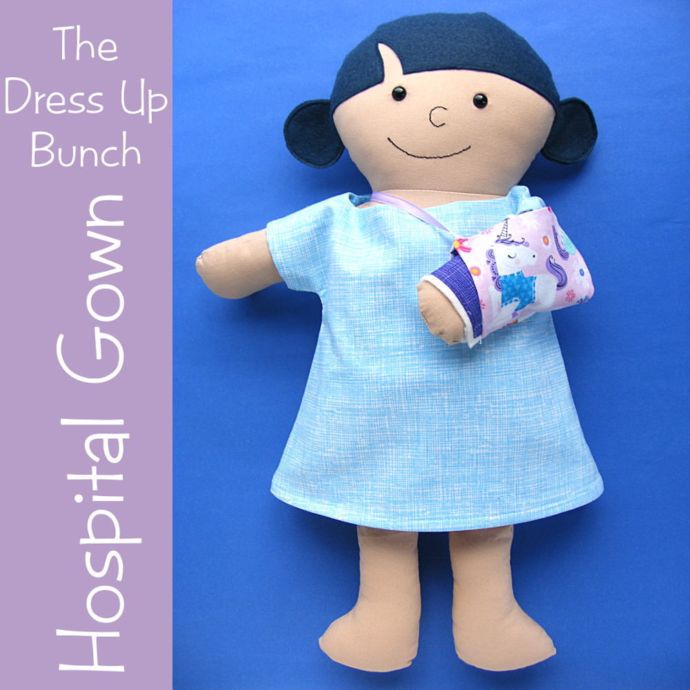 Dress Up Bunch Doll Hospital Gown Removable Cast And