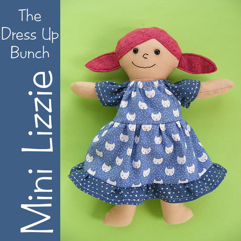 Mini Lizzie - Tiny Dress Up Bunch rag doll pattern