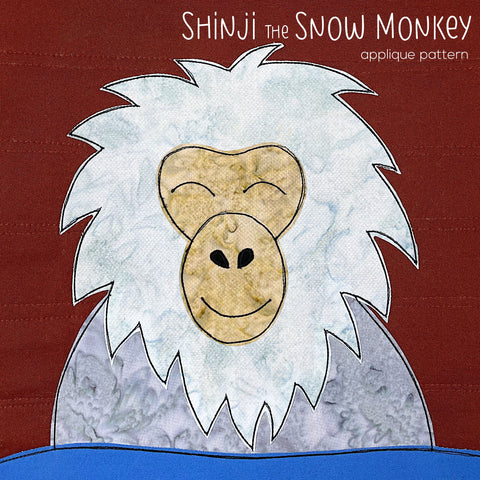 Shinji the Snow Monkey Applique Pattern