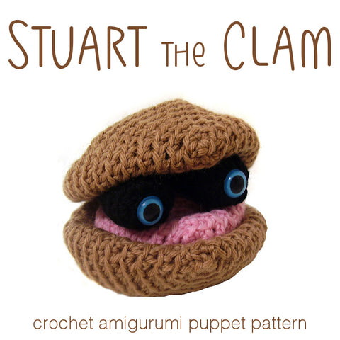 Stuart the Clam Puppet Crochet Amigurumi Pattern