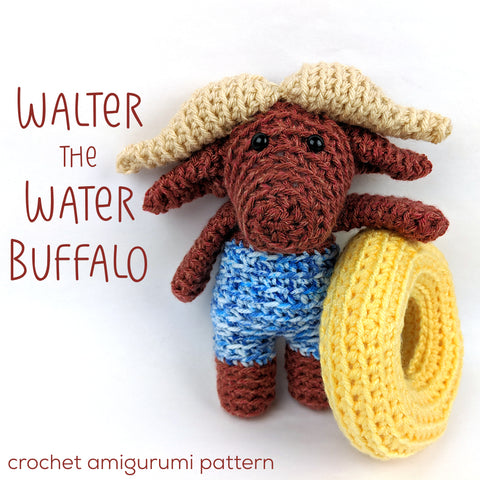 Walter the Water Buffalo Crochet Amigurumi Pattern