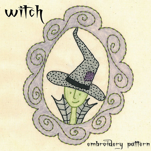 Elegant Witch Embroidery Pattern