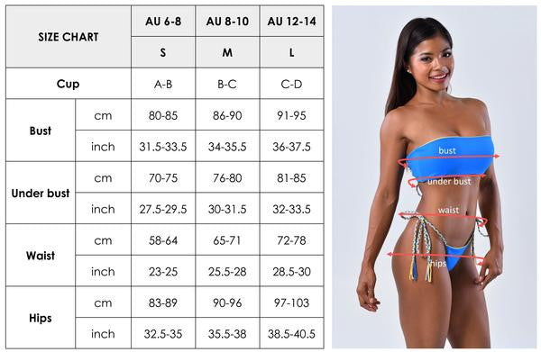Jomie Bikini and Beachcuties size chart