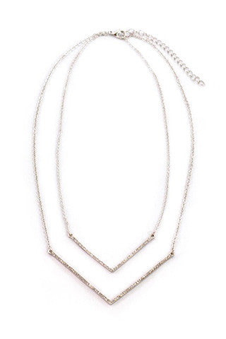 SPRINKLED DOUBLEBAR SILVER NECKLACE